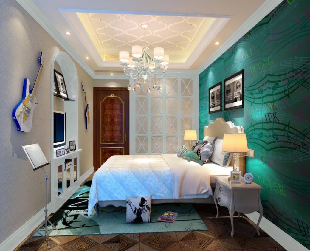 108平米三居室奢華臥室背景墻裝修效果圖