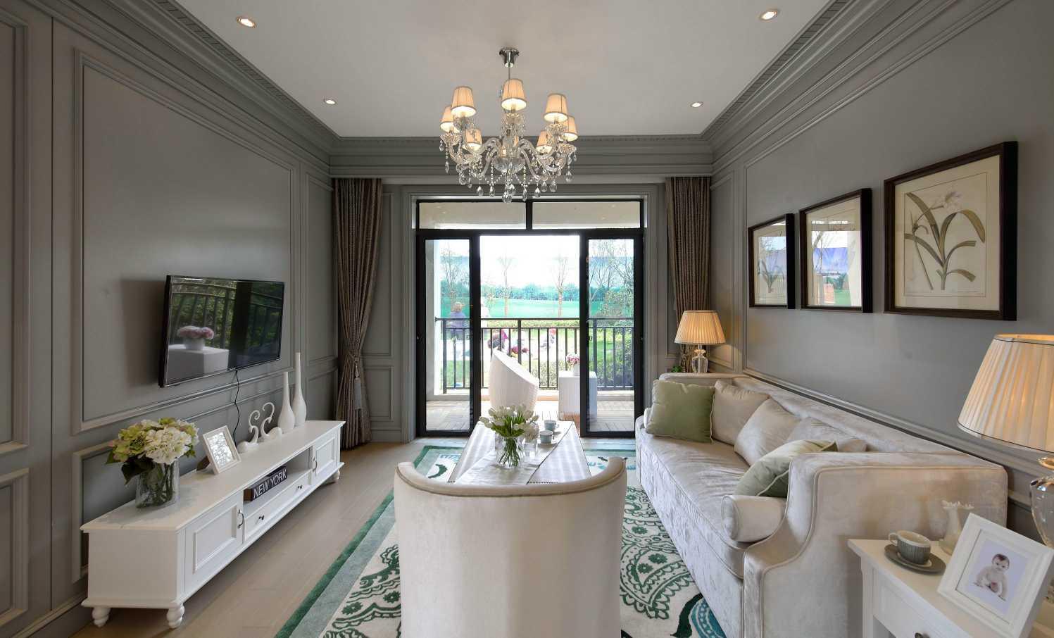 110平米簡約歐式風格三居客廳裝修實景圖