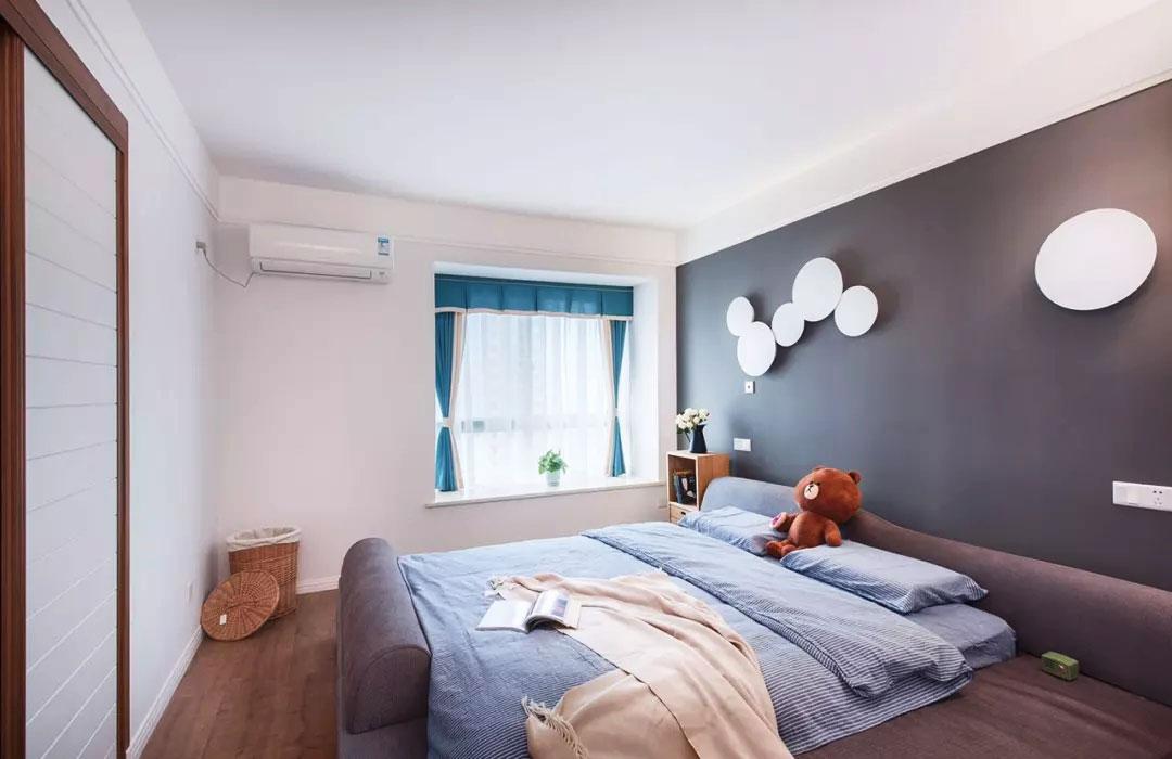 118平方家庭臥室床頭造型裝修設計實景圖