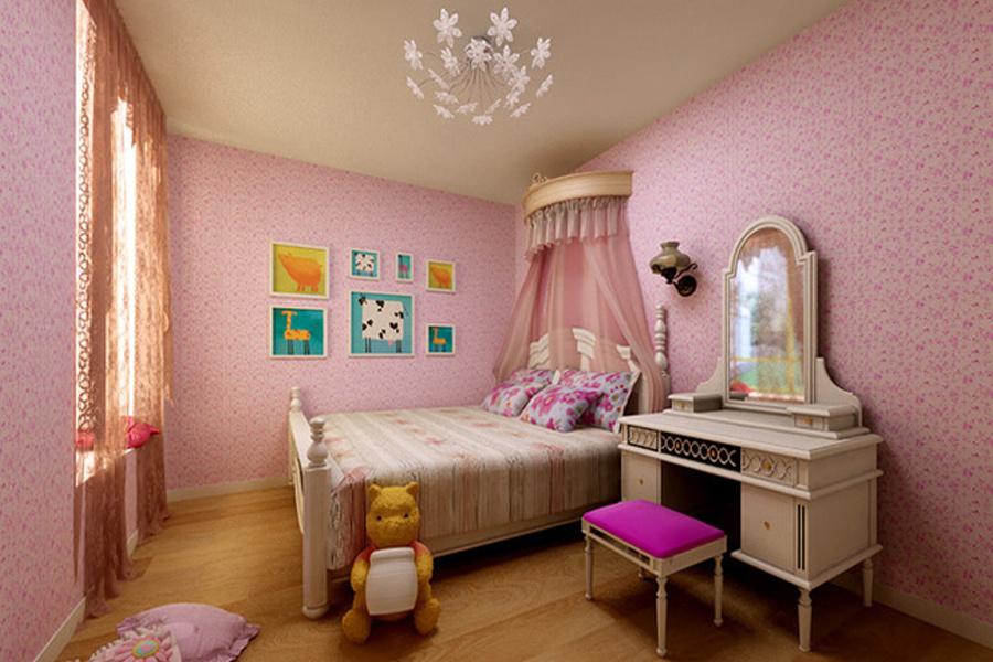 120平方田園風格女兒臥室粉色裝修設計圖