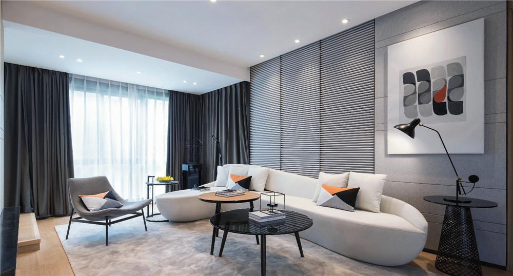 120平米時尚現代簡約三居室客廳沙發墻設計圖