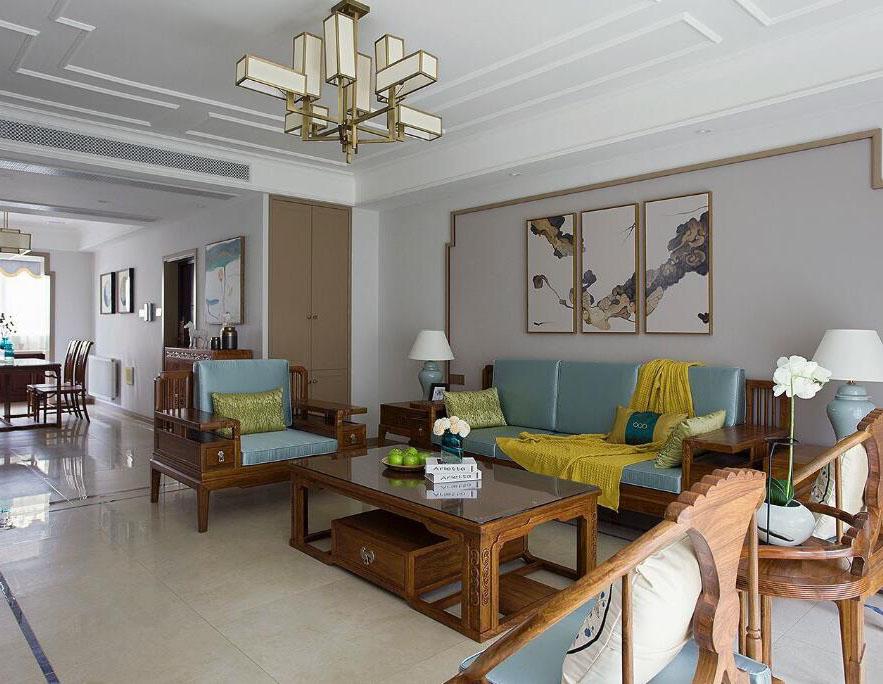 120平米中式風格客廳裝修案例圖