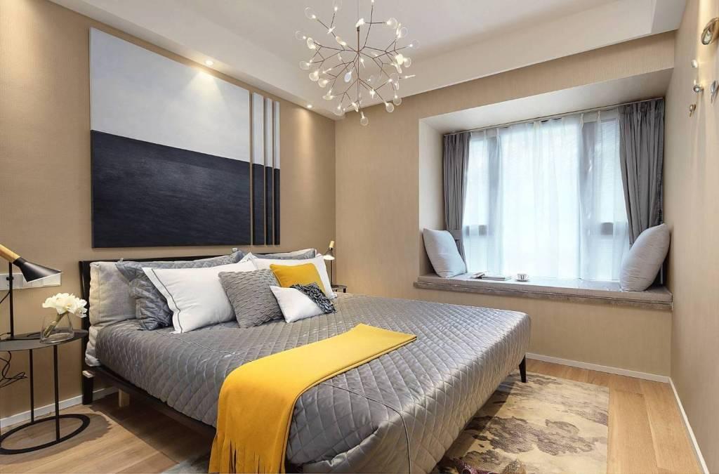 123平米四室兩廳臥室飄窗裝修設計圖片