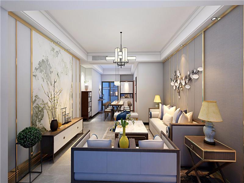 125平米新中式風格四居室客廳背景墻裝修效果圖