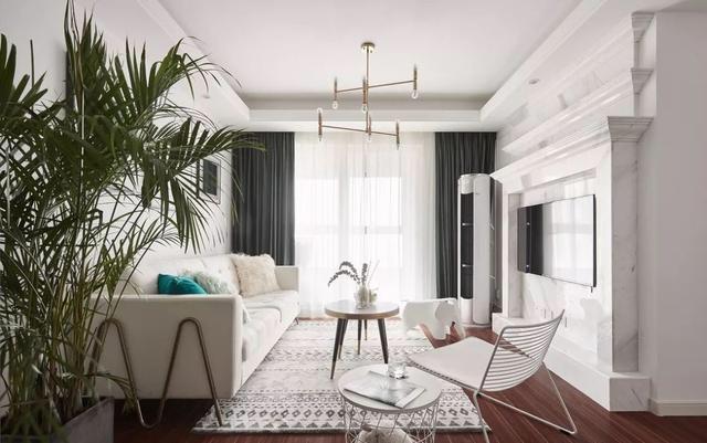 127平歐式風格新房客廳盆景擺放效果圖