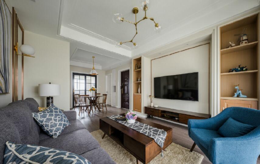 130平方家庭小客廳實木茶幾裝修設計欣賞