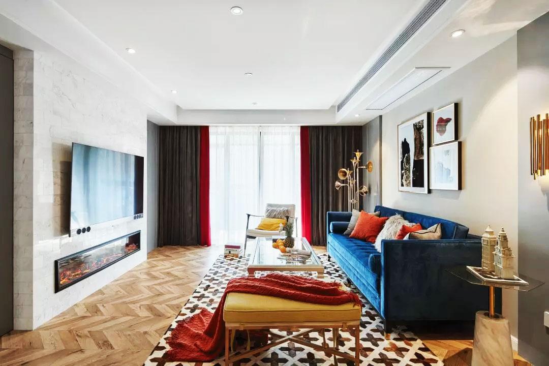 130平方時尚客廳玻璃茶幾裝修設計圖片