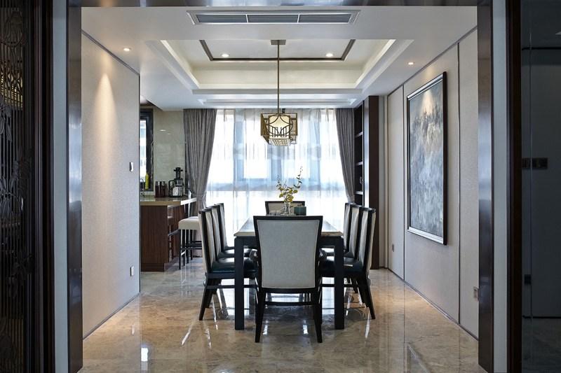 130平方現代風格餐廳吊頂燈裝修設計圖