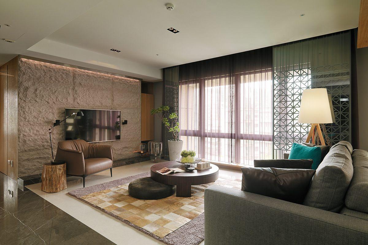 130平方現代風格客廳圓形茶幾裝修設計效果圖