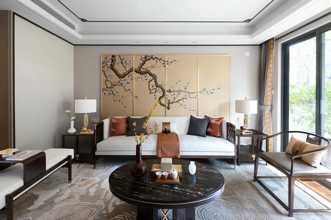 132平米新中式風格三室客廳沙發墻裝修實景圖