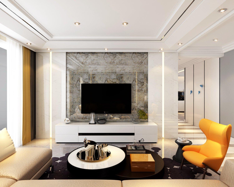 140平米二居室現代簡約風格客廳電視墻設計效果圖