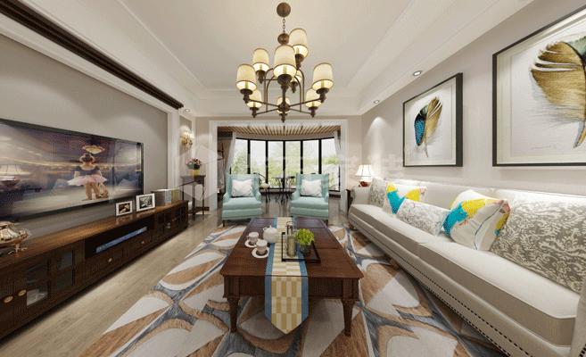 142平米簡美式風格三居客廳吊燈裝修效果圖