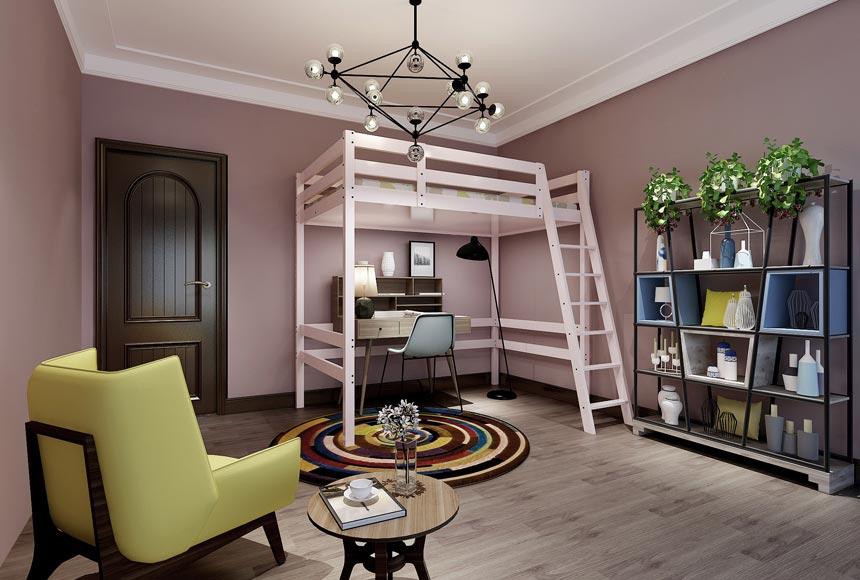 142平米三居室時尚兒童房間布置效果圖