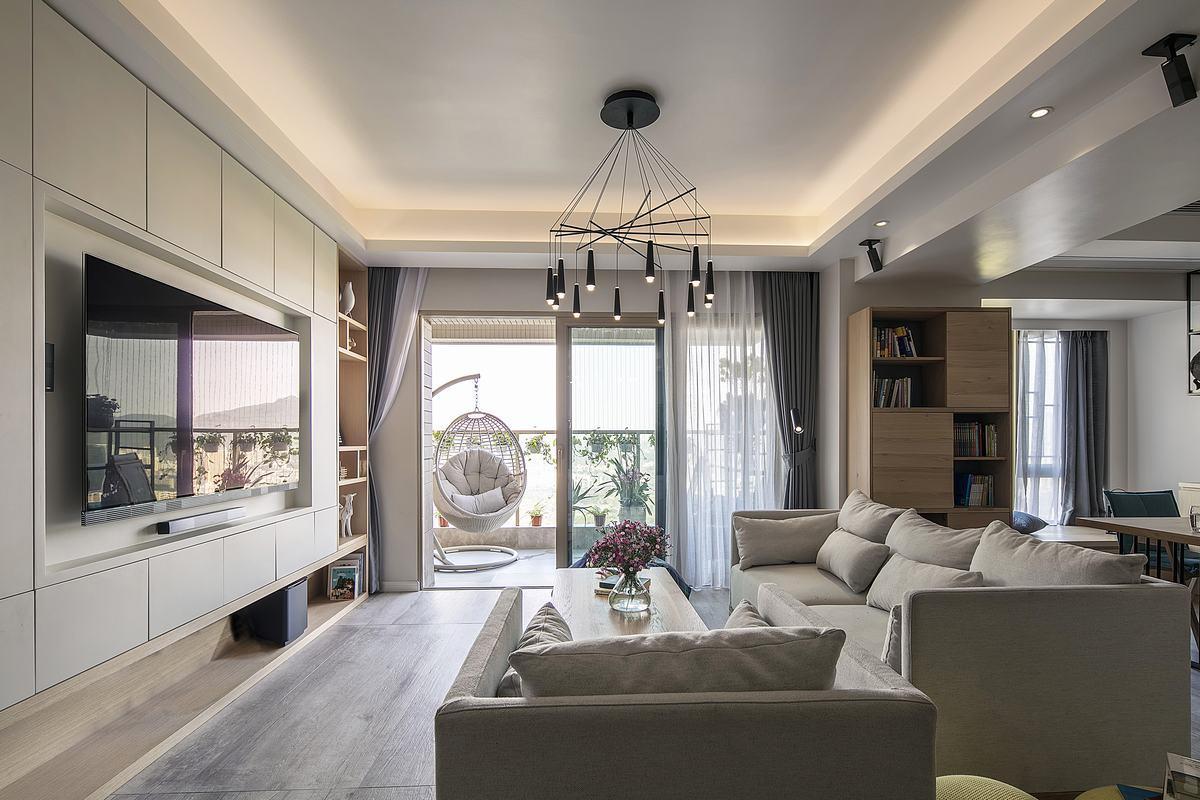 152平米四室兩廳客廳嵌入式電視墻裝修圖片