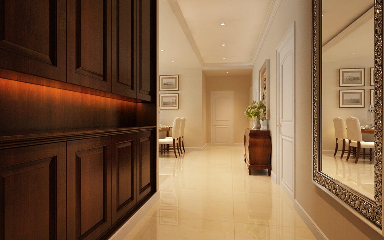 155平米簡美式風格二居室過道裝潢效果圖