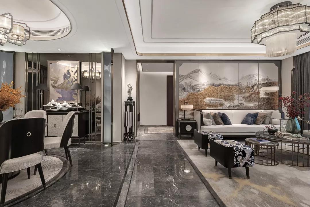 190平米四居室新中式風格客廳裝修效果圖片
