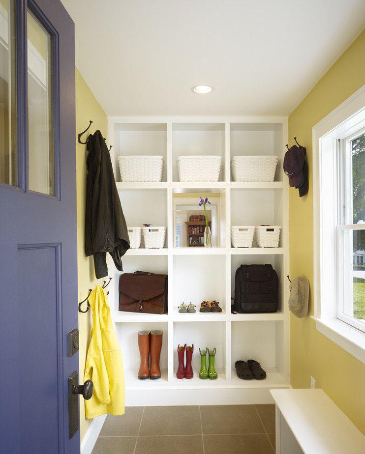 客廳進門格子鞋柜裝修裝飾效果圖片