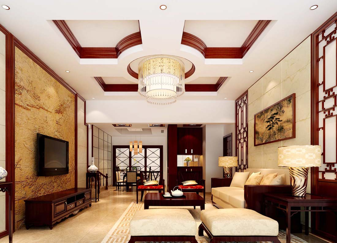 兩層別墅中式裝修風格元素圖片大全