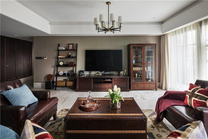 美式別墅客廳木箱茶幾裝修效果圖片大全