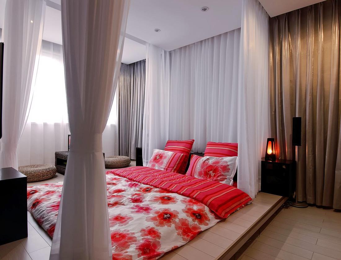 現代別墅宜家家居臥室床簾裝修效果圖片