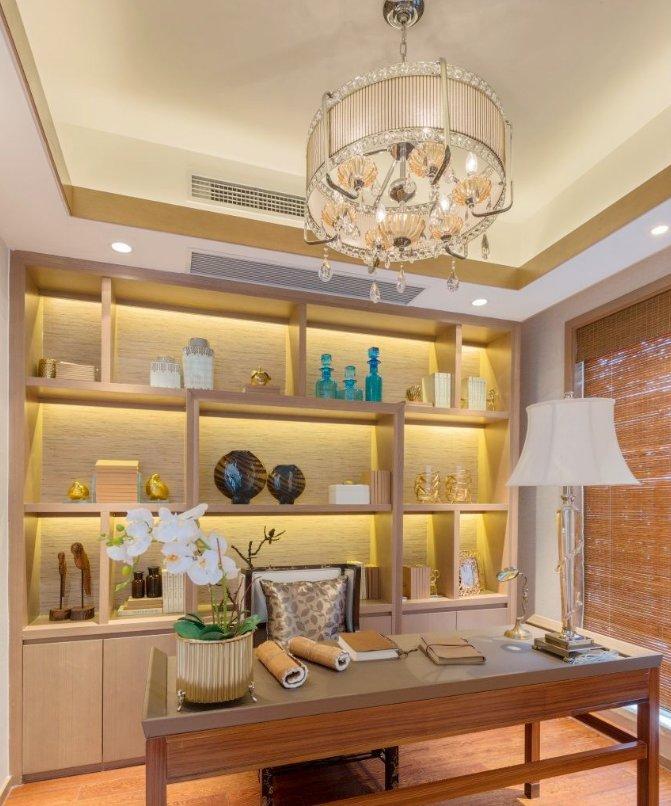 東南亞別墅書房書柜設計圖片