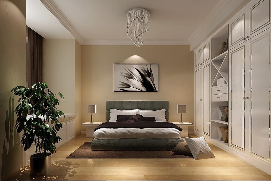 混搭風格90平方米二居室臥室白色衣柜裝修效果圖