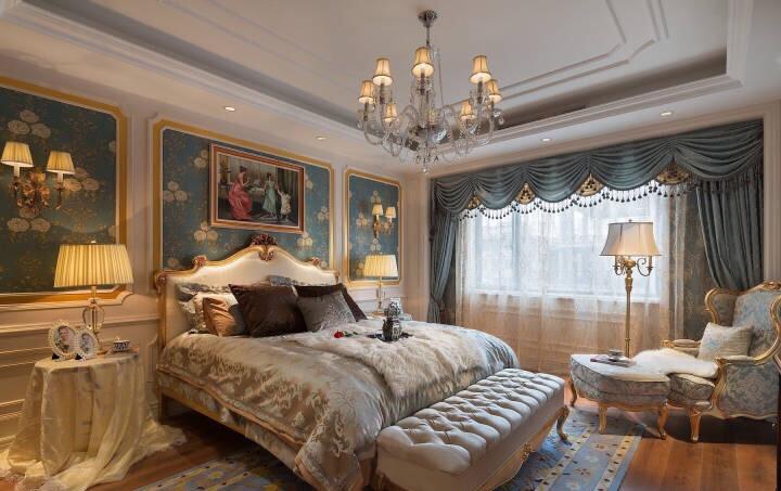 簡歐風格147平四居臥室壁紙搭配設計圖片