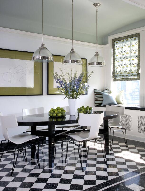 家庭飯廳長方形餐桌設計效果圖
