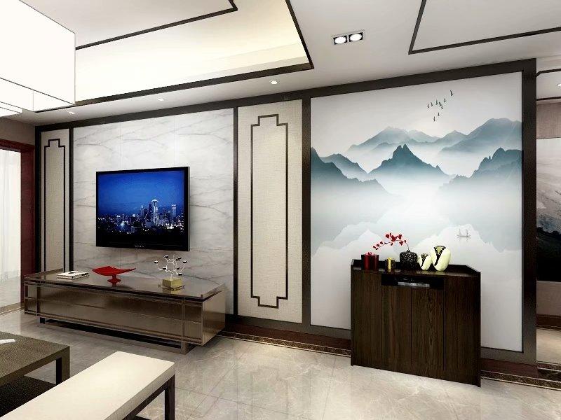 簡約中式客廳實木電視柜裝修效果圖片