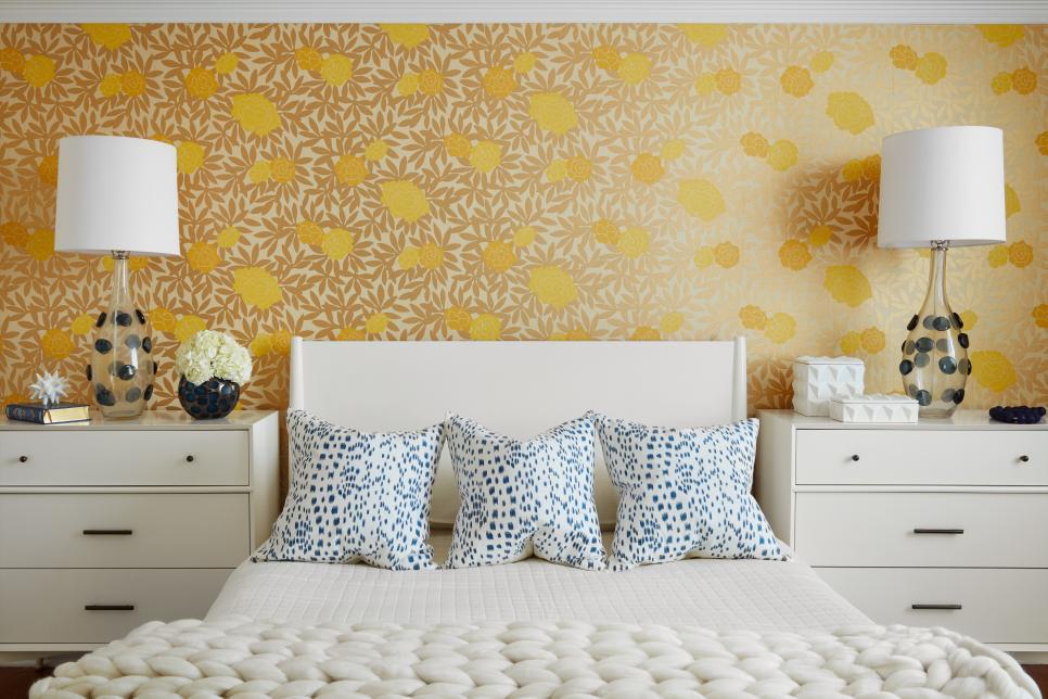 暖色小清新臥室墻面壁紙搭配設計圖片