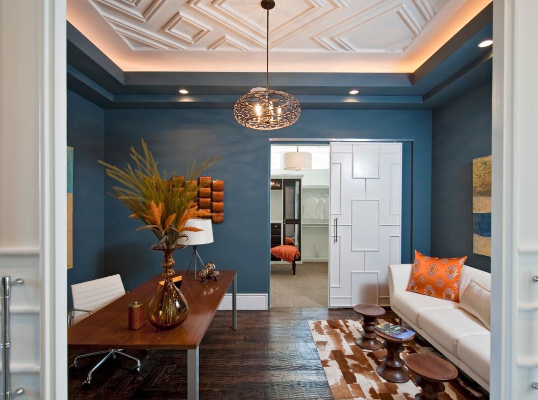 書房背景墻藍色家居圖片欣賞