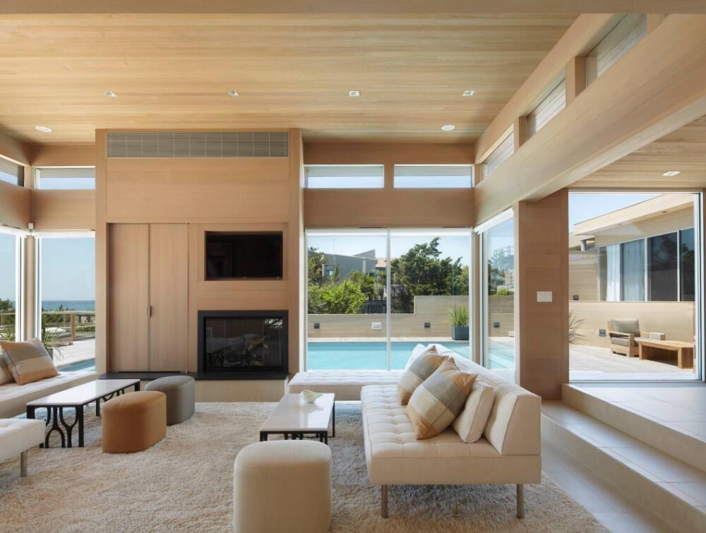 現代別墅錯層客廳木吊頂效果圖