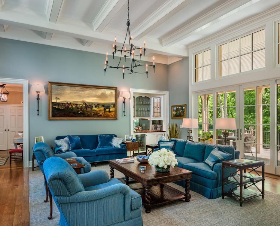 小戶型客廳藍色沙發家居裝飾圖片