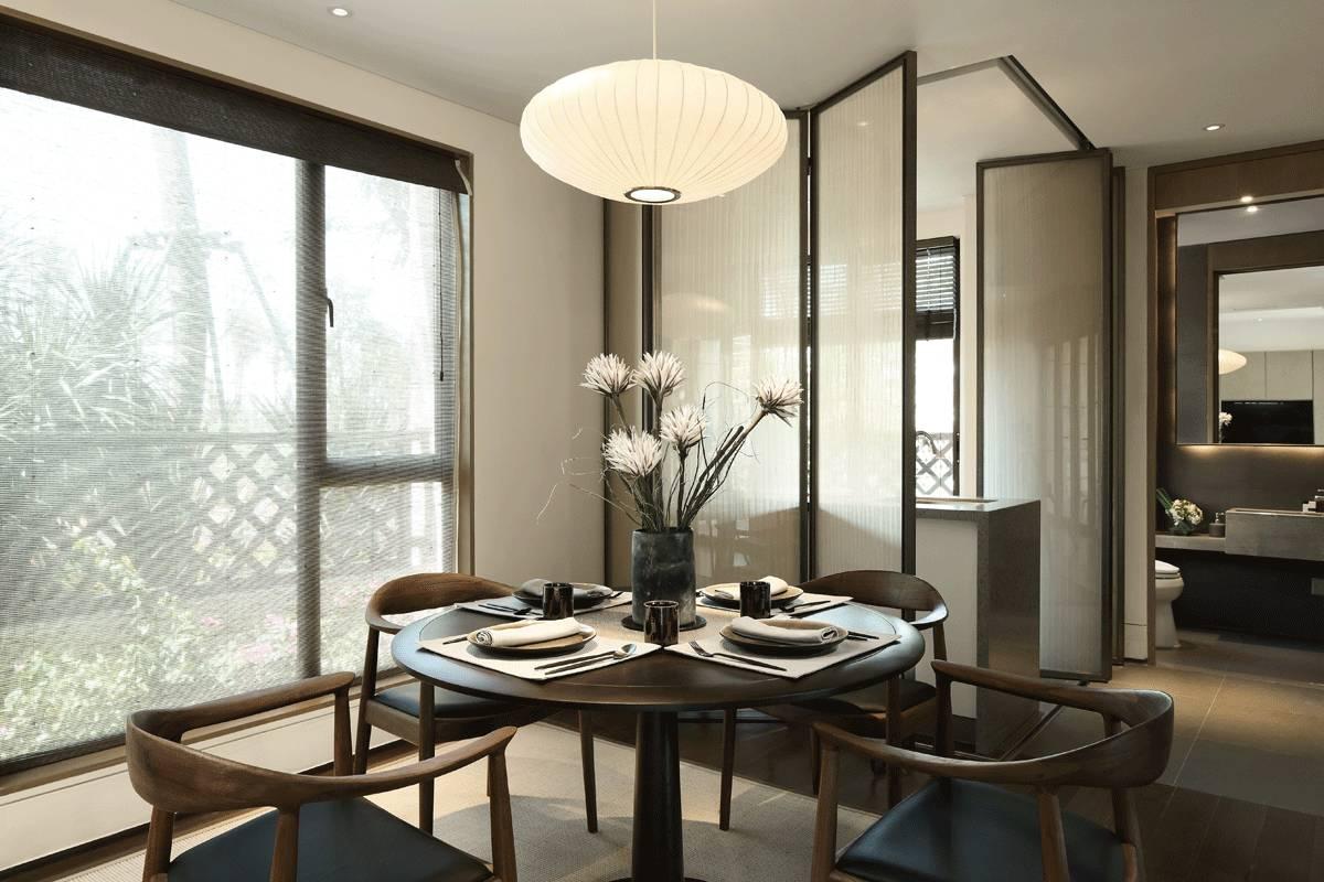 新中式大戶型室內餐廳吊燈裝修圖片