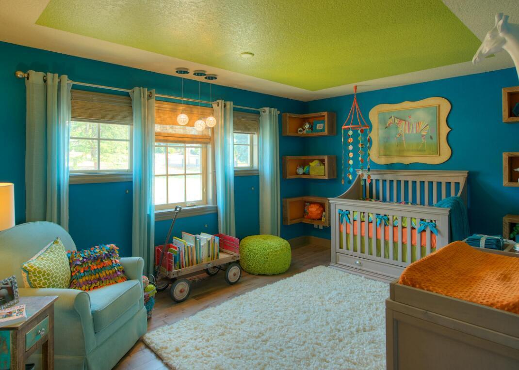 嬰兒房間藍色家居墻面裝飾圖片
