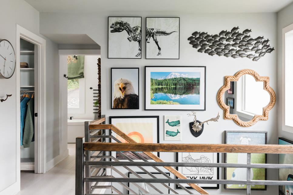 2019北歐風格家裝樓梯間照片墻設計圖片