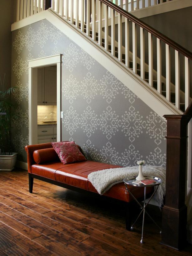 2019豪華躍層樓梯間墻面壁紙搭配設計圖片