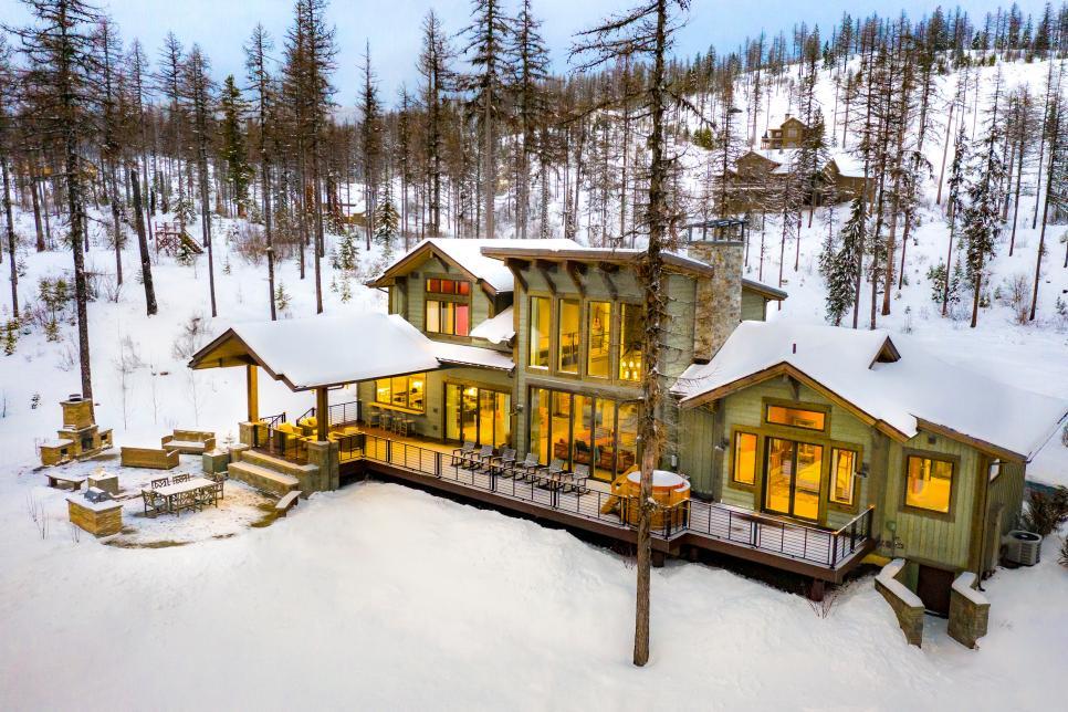 2019美式風格農村獨棟雪中小別墅外觀設計圖片