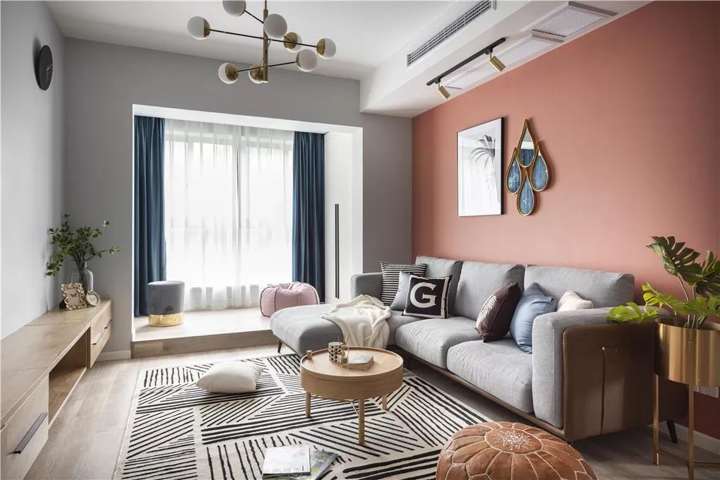 2019現代簡約風格84平三居客廳沙發墻裝修圖片