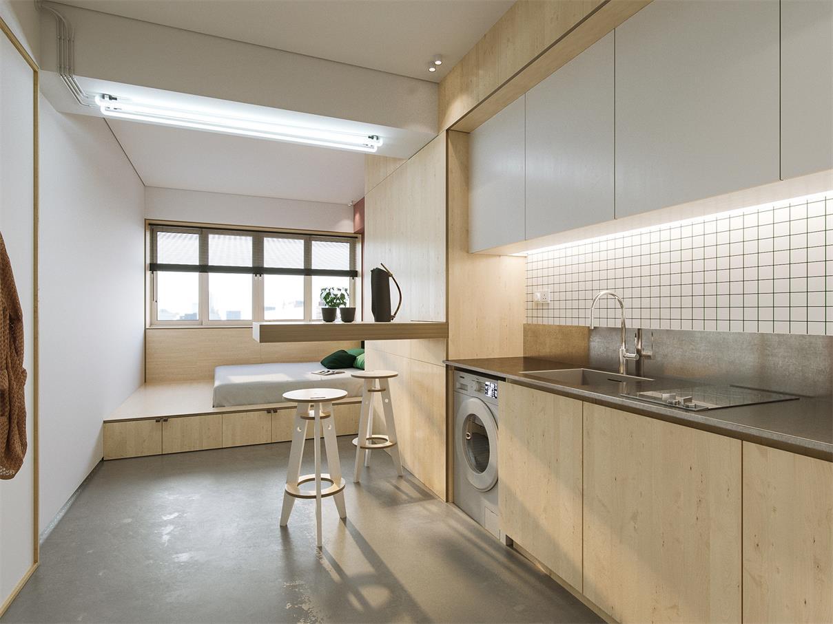38平米小戶型樣板房廚房臥室裝修效果圖