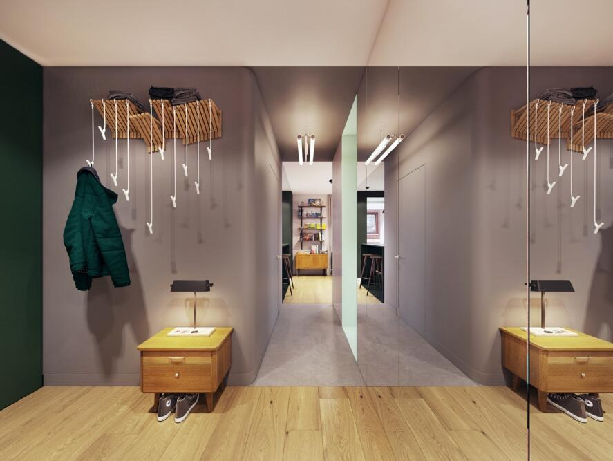 38平米小戶型樣板房玄關鞋柜效果圖