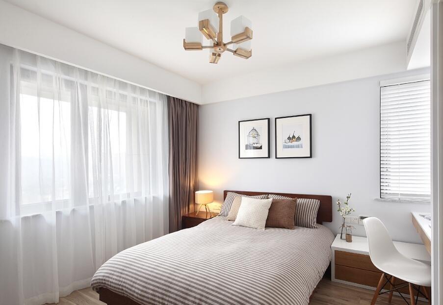 85平小戶型北歐風格臥室白色紗簾裝修效果圖