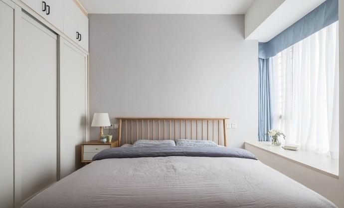 90平米簡約北歐風格二居新房臥室飄窗裝修圖片