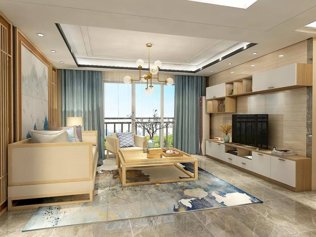 98平米三居室客廳電視墻柜體設計效果圖