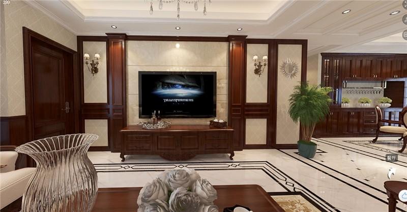 安盛花苑美式255平三居室客廳裝修案例