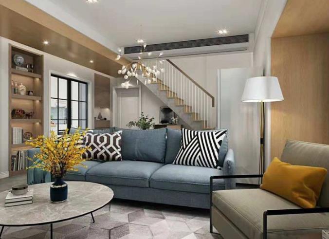 保利公園里躍層120平現代風格客廳布藝沙發效果圖