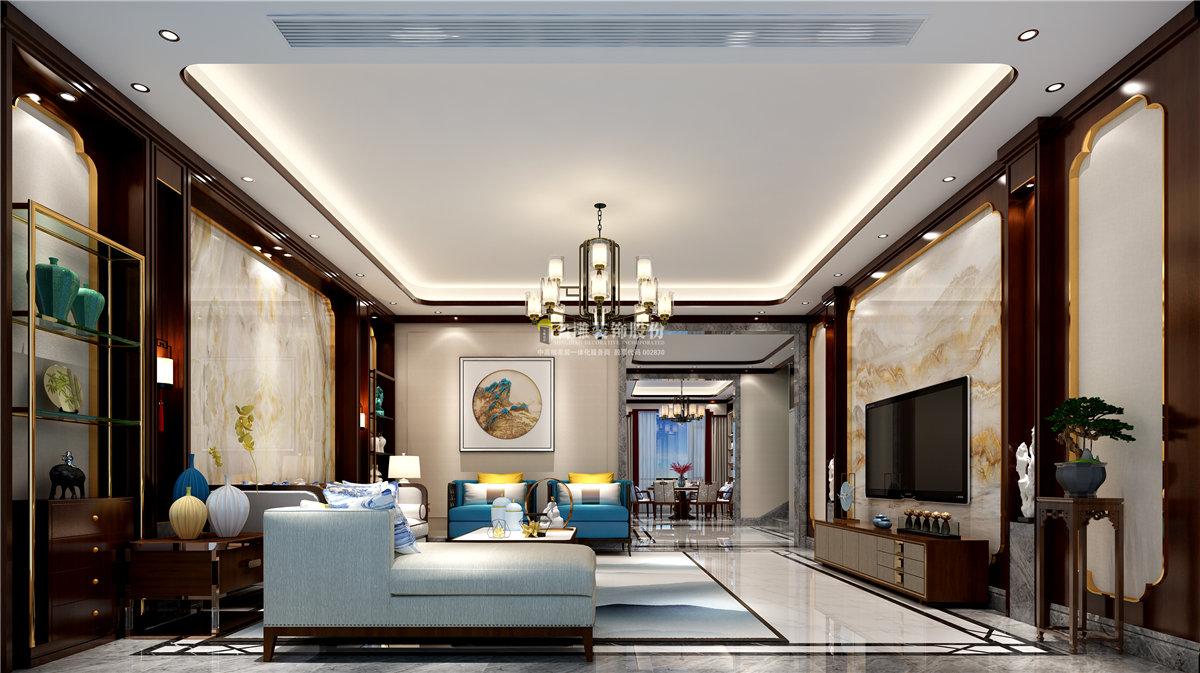 保利香雪山600㎡新中式別墅客廳裝修效果圖