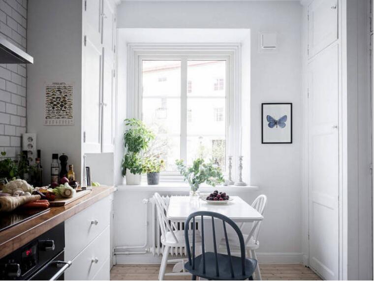 北歐風格單身公寓樣板房廚房餐廳一體裝修