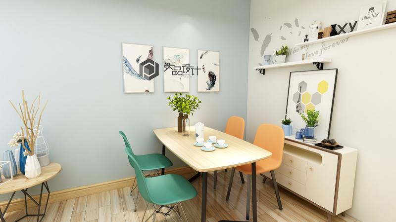 北歐簡約風格89平三居餐廳擱板裝修效果圖