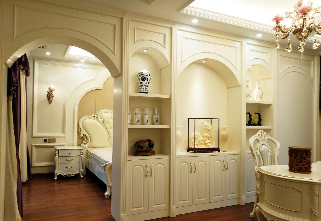 別墅簡歐臥室兼書房裝修效果圖片